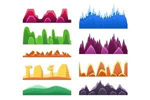 Alien Mountains And Colorful Desert Landscaping Seamless Background Patterns For 2D Platformer Game Design