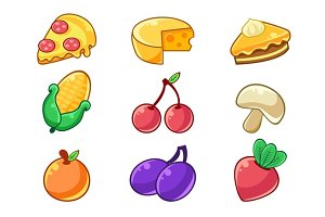 Food Items Outlined Childish Stickers Set For Flash Game Design Including Fruits , Berries And Pizza