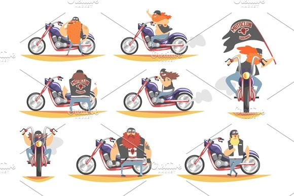 Outlaw Biker Club Members On Heavy Choppers With Leather Vests And Long Beards Set Of Cartoon Characters
