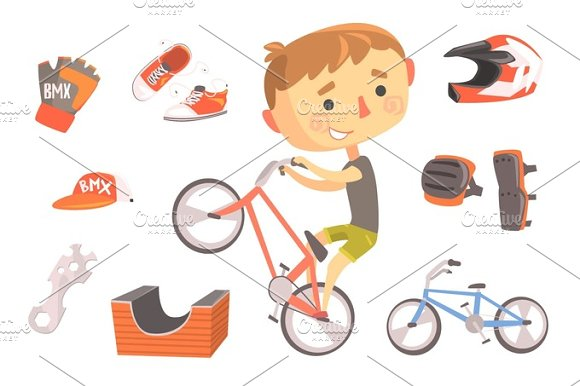 Boy BMX Bike Rider Kids Future Dream Professional Occupation Illustration With Related To Profession Objects