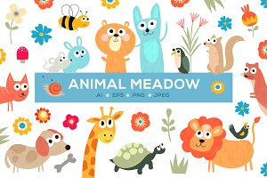 Cute Animal Meadow