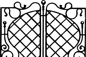 Wrought iron window bar pattern