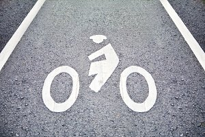 Bicycle sign on lane