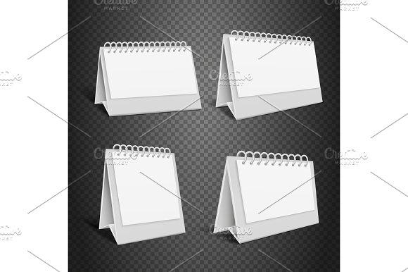 Blank Desk Paper Calendar Empty Folded Envelope With Spring Vector Illustration