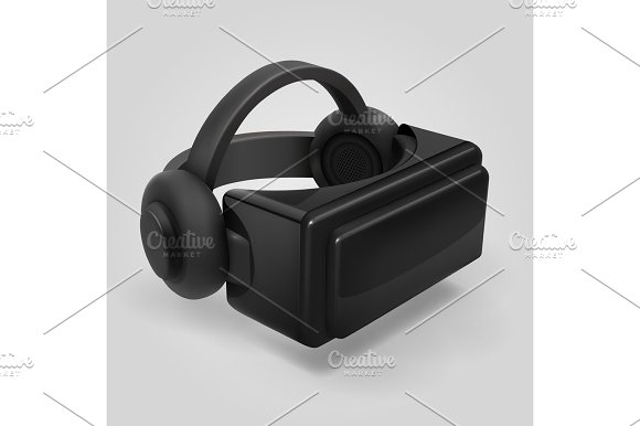 Virtual Reality 3D Futuristic Glasses Display Vr Helmet Visor Isolated Vector Illustration