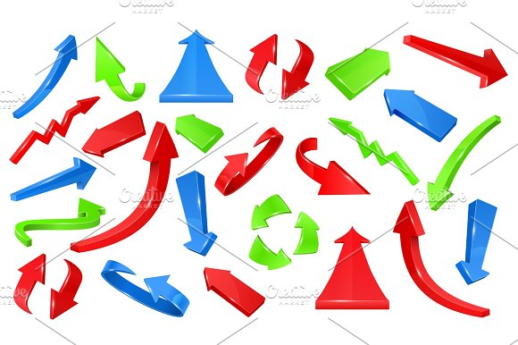 Multicolored 3D Glossy Arrows Pointing Signs Vector Set