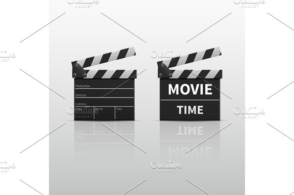 Movie Clapperboard Or Film Clapper Isolated On White Vector Illustration