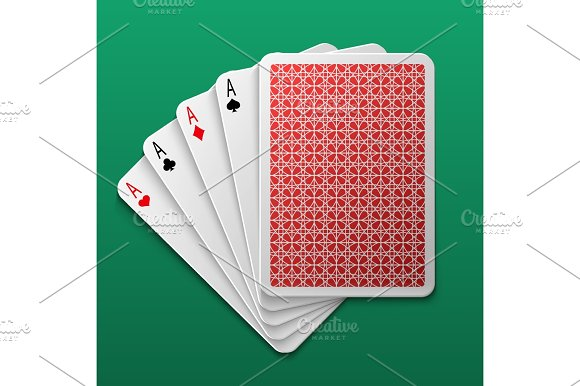 Four Aces Poker Playing Card On Game Table Casino Big Win Gamble Vector Background