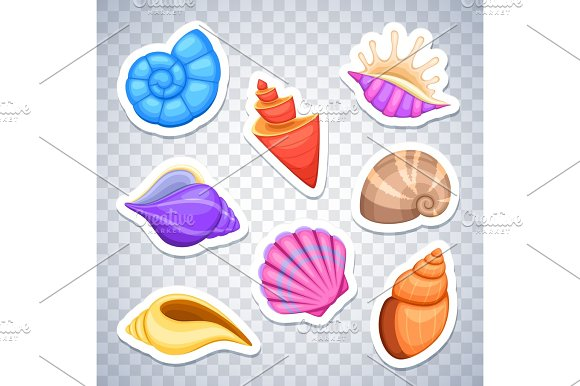 Sea Shells Stickers Vector Set