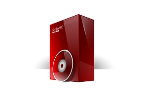 Red Glossy Package Box With Disk