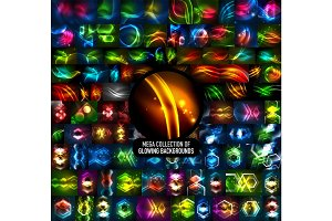 Mega collection of 100 vector glowing effect abstract backgrounds
