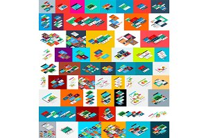 Mega collection of vector isometric app and web site development concepts