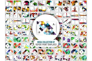 Mega collection of 100 vector annual report print templates