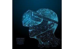 virtual reality low poly blue