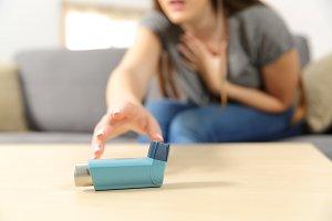 Girl suffering asthma attack