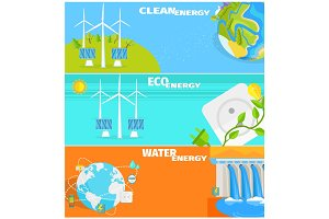 Clean Eco Water and Wind Energy Illustrations Set