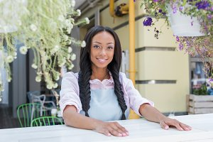 young waitress smiling