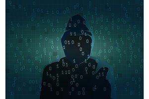 Silhouette of hacker dark figure.