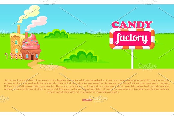 Small Cartoon Candy Factory On Wide Green Meadow