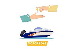 Buying Blue Speed Motorboat on White Background.