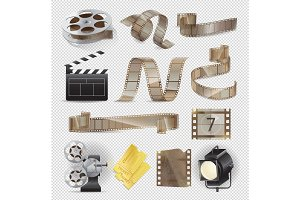 Movie Equipments Colourful Vector Collection.