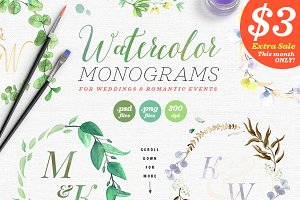 8 Watercolor Wedding Monograms I