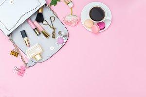 Women's handbag and makeup
