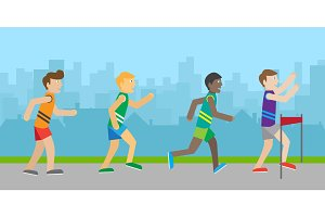 Runners on Finish Flat Style Vector Illustration
