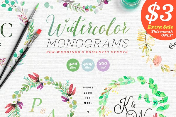 8 Watercolor Wedding Monograms II