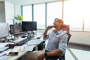 Business investor in a happy mood