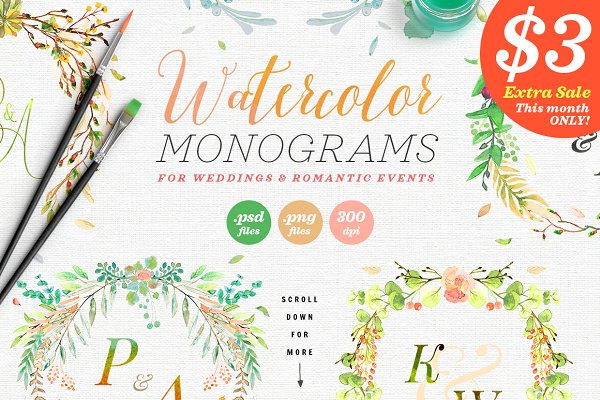 6 Watercolor Wedding Monograms III