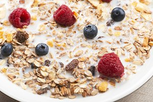 Close-up of cereal with milk, raspberries and blueberries.
