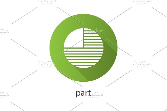 Circle Diagram With Missing Part Flat Design Long Shadow Glyph Icon