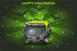 Cartoon pot with Magic potion, set Illustration Happy Halloween