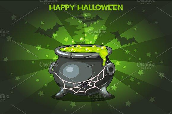 Cartoon Pot With Magic Potion Set Illustration Happy Halloween