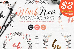 6 Blush Noir Wedding Monograms IV