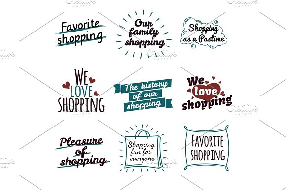 Shopping Label Logotypes Collection On White