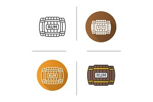 Rum wooden barrels icon