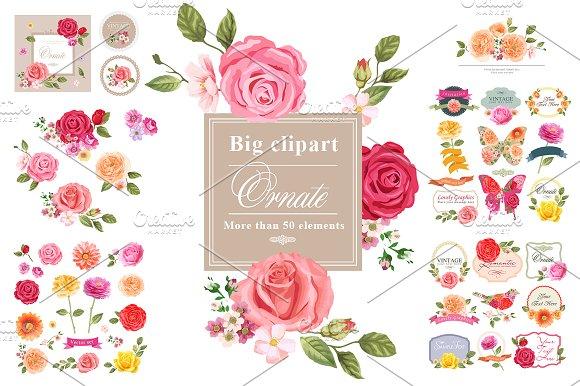 BIG FLORAL VECTOR CLIPART