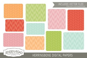 Herringbone Digital Papers & Vectors
