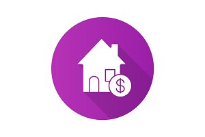 Real estate market flat design long shadow glyph icon
