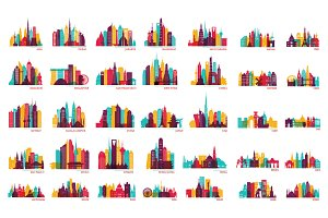 World cities vector skyline set