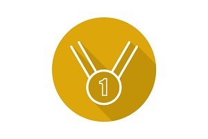 Gold medal flat linear long shadow icon