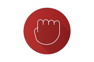 Squeezed fist flat linear long shadow icon