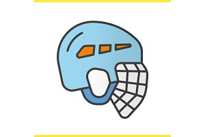 Ice hockey helmet color icon