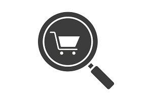 Supermarket search glyph icon