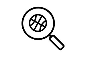Magnifying glass with basketball ball linear icon