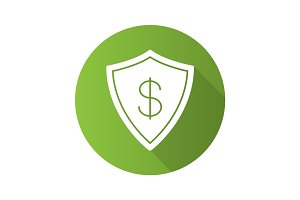 Money security flat design long shadow glyph icon
