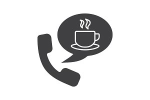 Hot drinks phone order glyph icon