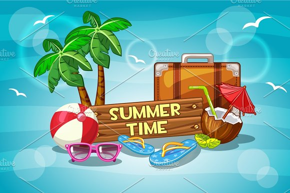 Illustration Summer time with cartoon Objects